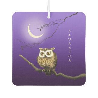 Monogram Owl Night Moon Dark Blue Air Freshener