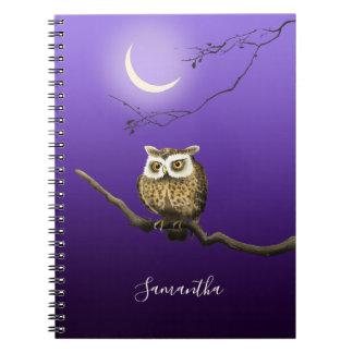 Monogram Owl Night Moon Dark Blue Small Notebook