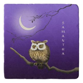 Monogram Owl Night Moon Dark Blue Stone Trivet