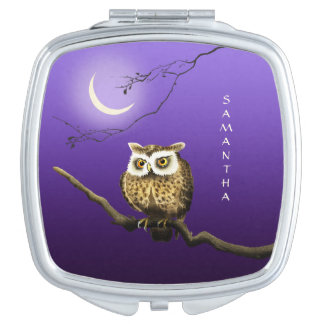 Monogram Owl Night Moonlight Blue Compact Mirror