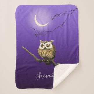 Monogram Owl Night Moonlight Blue Sherpa Blanket