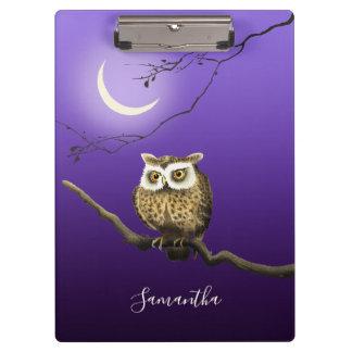 Monogram Owl Night Moonlight Dark Blue Clipboard