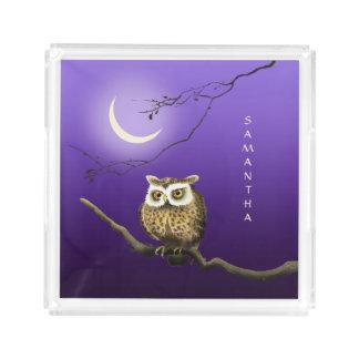 Monogram Owl Night Moonlight Dark Blue Tray