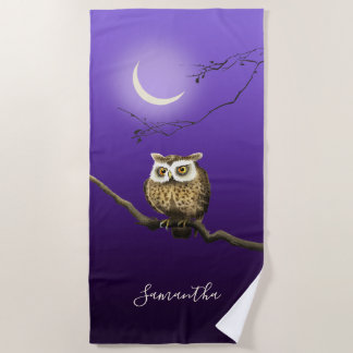 Monogram Owl Night Moonlight Deep Blue Beach Towel