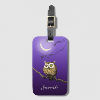 Monogram Owl Night Moonlight Deep Blue Luggage Tag