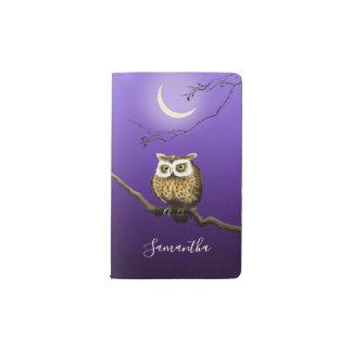 Monogram Owl Night Moonlight Deep Blue Notebook