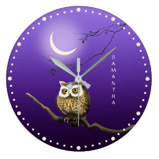 Monogram Owl Night Moonlight Deep Blue Wall Clock