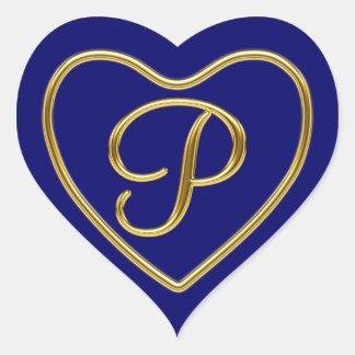 Monogram P in 3D gold Heart Sticker