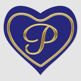 Monogram P in 3D gold Heart Stickers