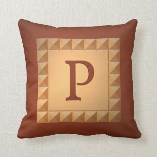 Monogram P: Marquetry Effect Initial and Pattern Throw Pillow