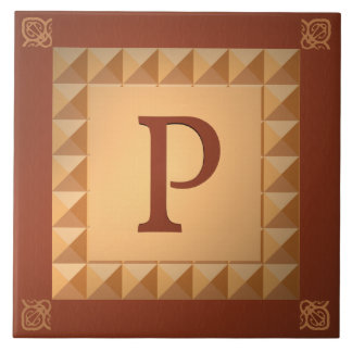 Monogram P: Marquetry Effect Initial and Pattern Tile