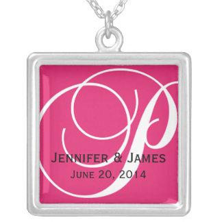 Monogram P Names Date Pink Wedding Necklaces