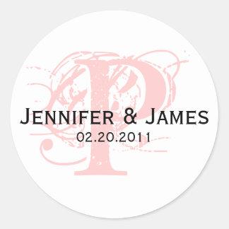 Monogram P Save the Date Wedding Sticker