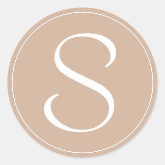 Monogram Pale Brown With White Ring BT Classic Round Sticker
