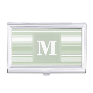 Monogram pale green stripes business card holder