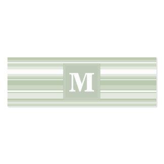 Monogram pale green stripes mini business card