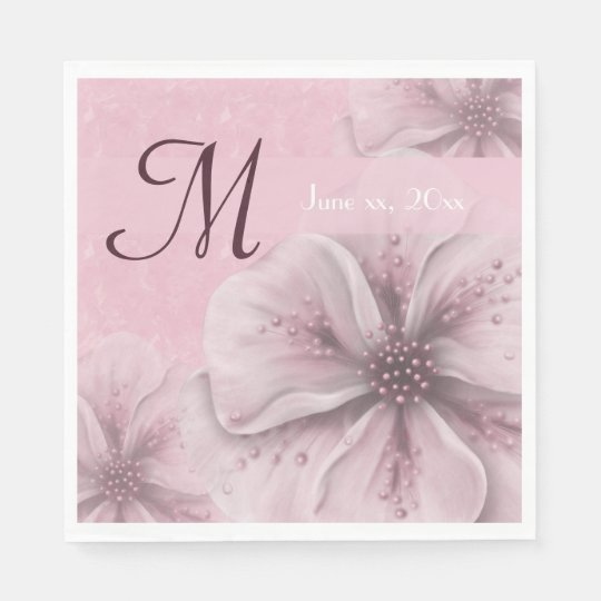 Monogram Pale Pink Floral Disposable Napkins
