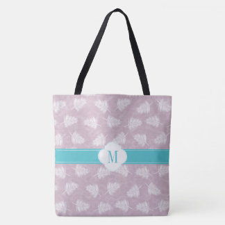 Monogram pale purple and fern pattern tote bag