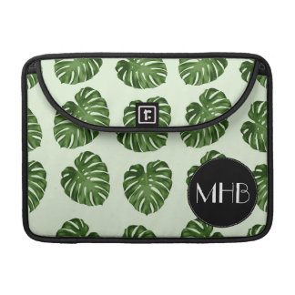 Monogram - Palm Leaves, Leaf Pattern - Green Black Sleeve For MacBooks