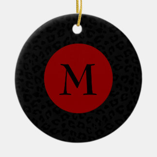 Monogram Panther Print Ceramic Ornament