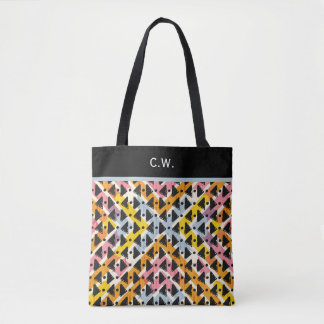 Monogram paperchain yellow blue pink weave tote bag