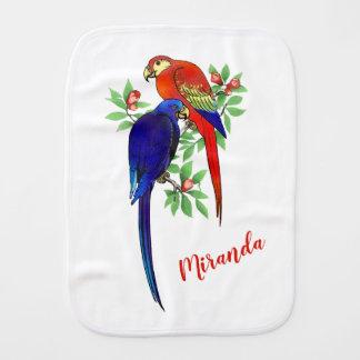 Monogram Parrots Blue Red Flowers Burp Cloth
