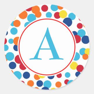 Monogram Party Dots Birthday Stickers