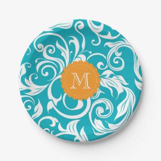 Monogram Party Floral Wallpaper Aqua Orange Paper Plate