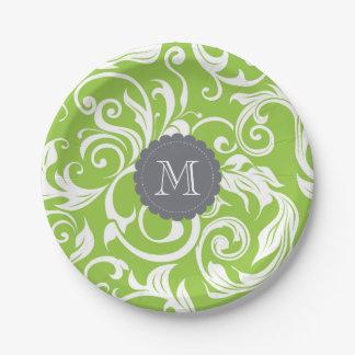 Monogram Party Floral Wallpaper Avocado Green Paper Plate