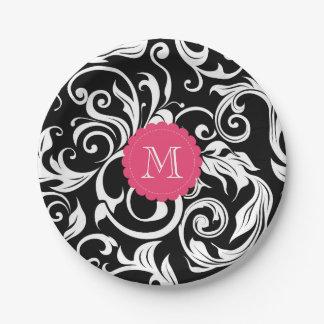 Monogram Party Floral Wallpaper Black Pink Paper Plate