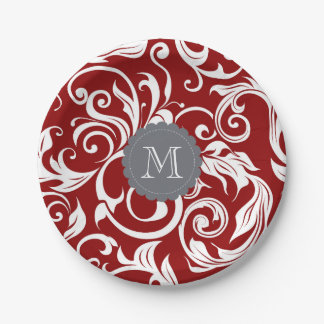 Monogram Party Floral Wallpaper Dark Wine Red Paper Plate