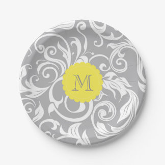 Monogram Party Floral Wallpaper Silver Gray Yellow Paper Plate