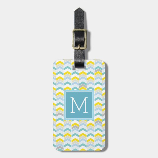 Monogram | Pastel Blue & Yellow Herringbone Luggage Tag