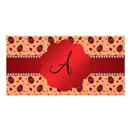 Monogram pastel orange ladybugs hearts photo card template