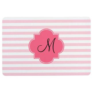Monogram Pastel Pink Stripes Patten Floor Mat