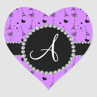 Monogram pastel purple eiffel tower pattern heart sticker