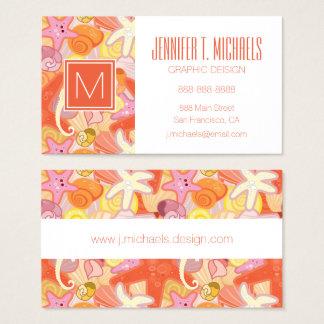 Monogram Pastel Sea Creatures Business Card