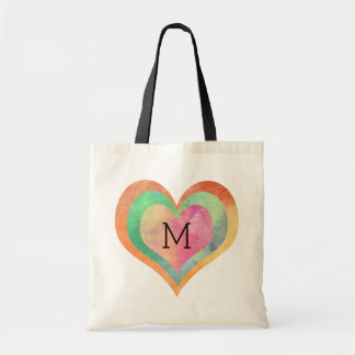 Monogram Pastel Watercolor Hearts