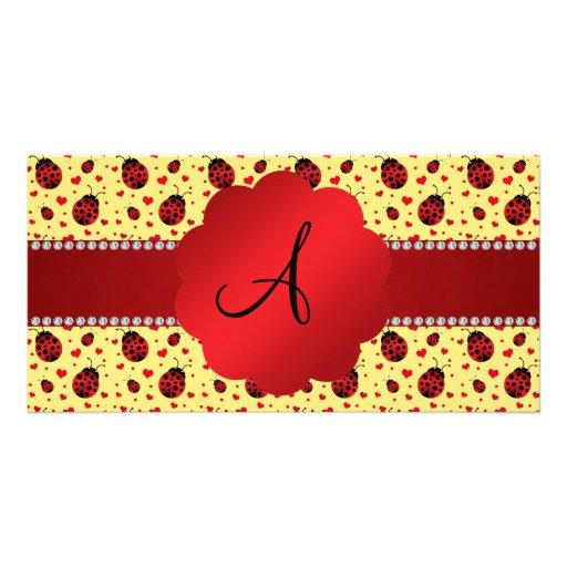 Monogram pastel yellow ladybugs hearts picture card