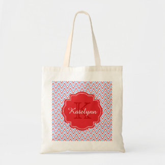 Monogram Patriotic Chevron Zigzag Custom Tote Bag