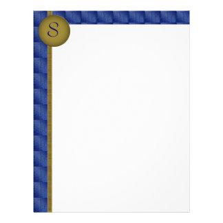 Monogram Patterned Blue Border Letterhead