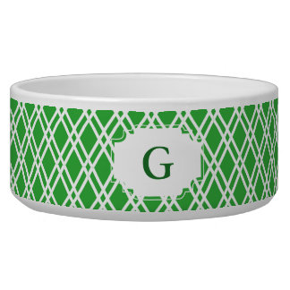 Monogram Patterned Pet Bowl - Bright Green