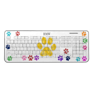 Monogram Paw Print Wireless Keyboard