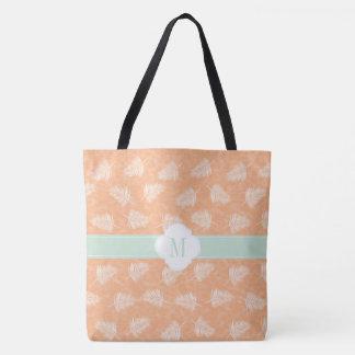 Monogram peach and fern pattern tote bag