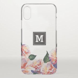 Monogram. Peach Floral Pattern. iPhone X Case