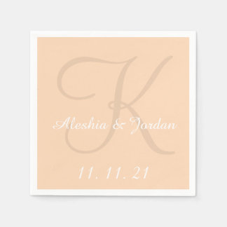 Monogram Peach Simple Color Wedding Paper Napkins