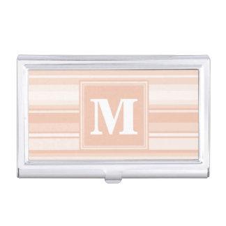 Monogram peach stripes business card cases