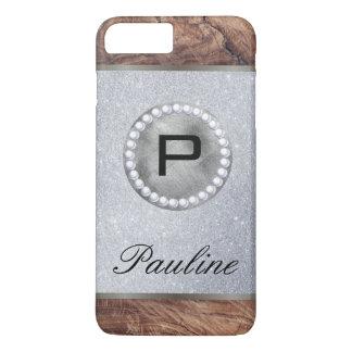 Monogram Pearl Wood Glitter iPhone 8 Plus/7 Plus Case