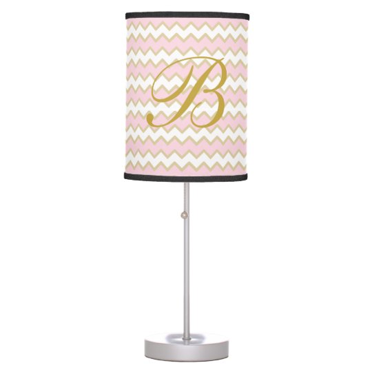 Monogram Personalized Baby Pink Gold Chevron Girl Table Lamps