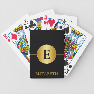 Monogram Personalized Black & Gold Bicycle Playing Cards